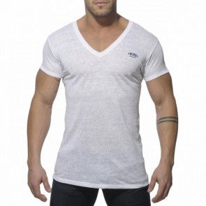 ES Linnen V Neck T-Shirt Wit OP=OP!