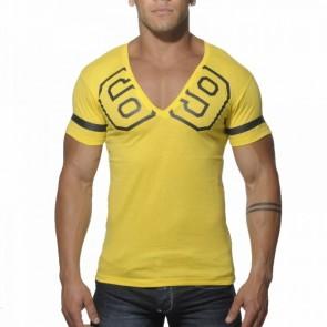 Addicted AD199 69 V-Hals T-Shirt Geel Voorkant