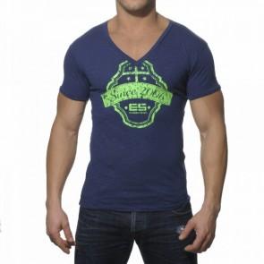 ES Neon Print V-Neck T-Shirt Navy
