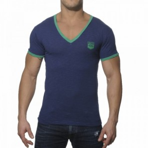 ES Contrast Binding V-hals Shirt Zwart