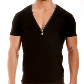 Modus Vivendi Zipper V-Shirt Zwart